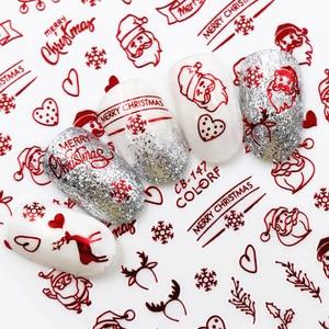 Image 1 - חדש אופנה 3D נייל מדבקות סנטה קלאוס לבן/זהב/אדום חזרה דבק לייזר חג המולד עץ מדבקות DIY