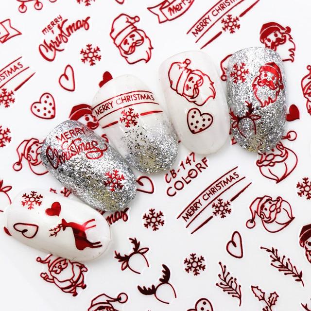 חדש אופנה 3D נייל מדבקות סנטה קלאוס לבן/זהב/אדום חזרה דבק לייזר חג המולד עץ מדבקות DIY