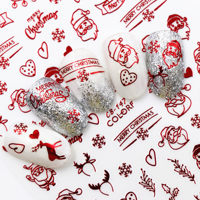 New Fashion 3D Nail Decals Santa Claus White /Gold /Red Back Glue laser Christmas Tree Decal  DIY