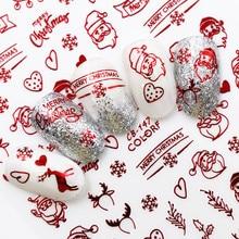 Nova moda 3d decalques do prego papai noel branco/ouro/vermelho voltar cola laser árvore de natal decalque diy