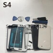 Boîtier complet cadre central + couvercle arrière + lentille en verre + bouton + outils pièces de rechange pour Samsung Galaxy s4 i9505 i9500 i9506 i337