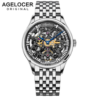 AGELOCER Silver Stainless Steel Mens Skeleton Watch Top Brand Luxury Fashion Automatic Watch Hollow Out Men Watches Luxury