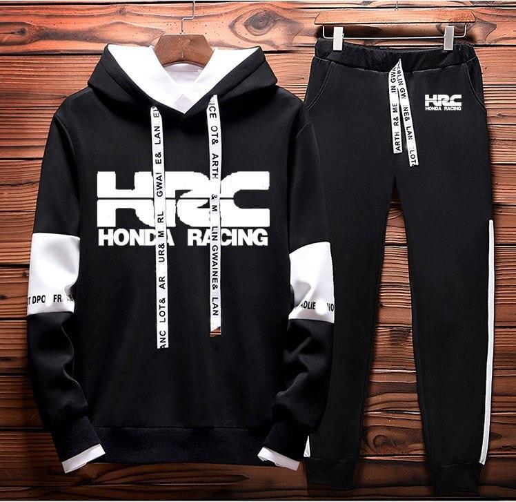Hoodies Men HRC Race Motorcycle Car Logo Printed Sweatshirt Men Hoodie Hip Hop Harajuku Casual Fleece Hoodies Pants Suit 2Pcs