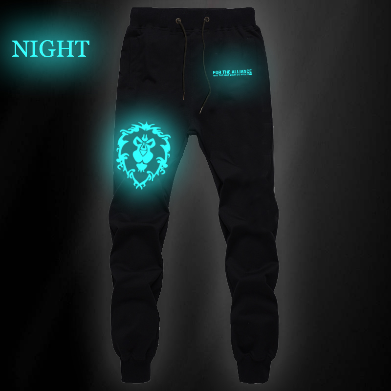 Game World Of Warcraft Luminous Sports Pants For The Horde Summer Sweat Casual Pants Jogger Fitness Long Trousers