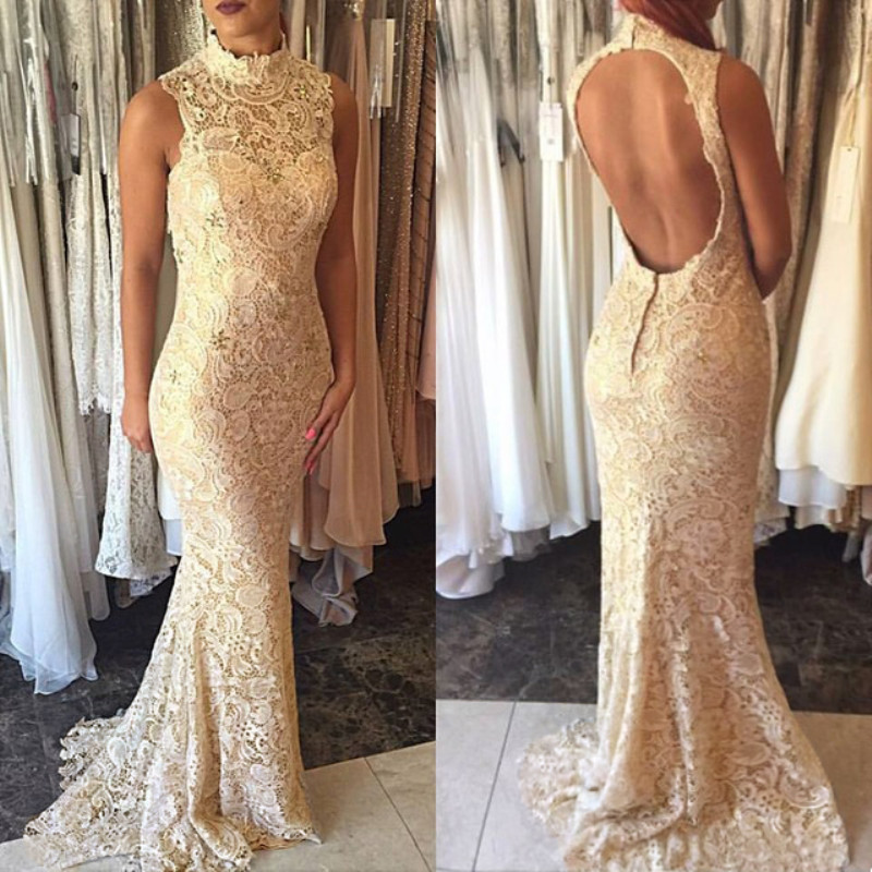 Evening     Dress   Gold Lace Mermaid Backless High Neck Sexy Gowns Formal Party   Dress     Evening   Gowns