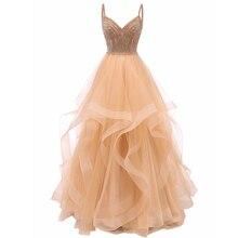 Vkbridal цвета шампанского золото Многоуровневое Тюлевое вечернее платье Длинные бальные платья кристаллы на шнуровке длинное формальное выпускное платье ремни