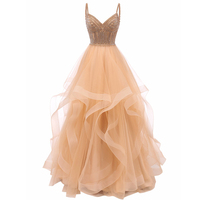 Vkbridal Champagne Gold Tiered Tulle Evening Dresses Ball Gowns Long Crystals Lace Up Long Formal Prom Dress Straps