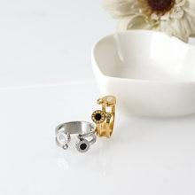 Роскошные брендовые полые черные и белые кольца с ракушкой открытые