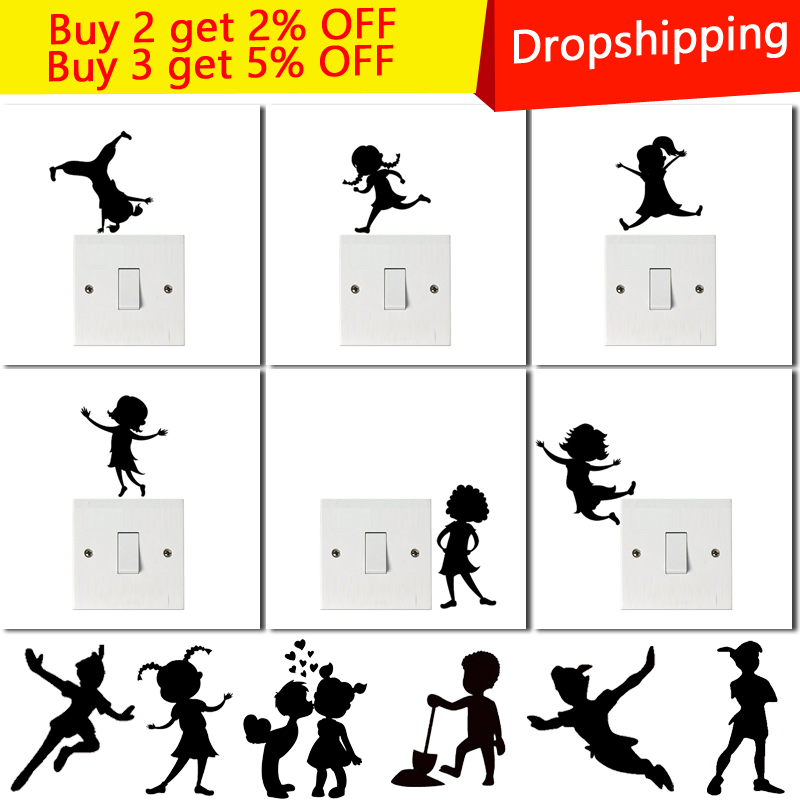 Creative Cartoon DIY Naughty Girl Boys Switch Stickers Wall for kids rooms Bedroom Parlor Decoration home decor