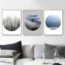 Скандинавский Туманный лес холст живопись туман пейзаж настенные