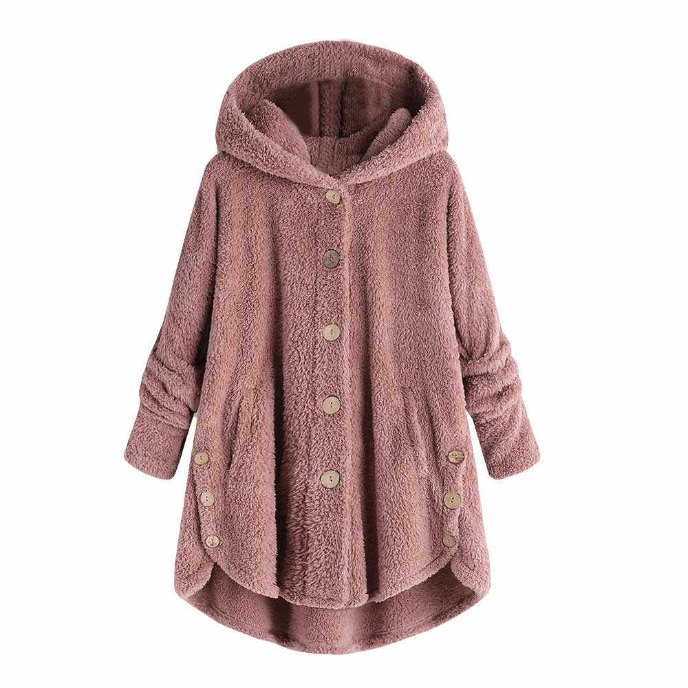 Wanita Mewah Mantel Wanita Berbulu Hangat Bertudung Longgar Jaket Pakaian Ukuran Plus Longgar Pullover Sweater Blus 7 Warna S-5XL