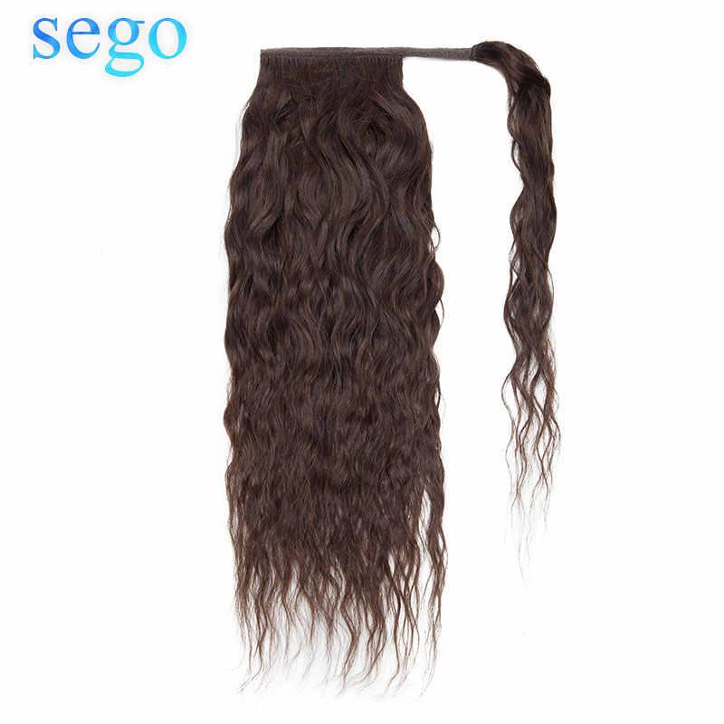 SEGO 80G-95G Corn Curly Kordelzug Pferdeschwanz 100% Menschliches Haar Brasilianischen Wrap Um Haarteile Nicht-Remy clip in Haar Extensions