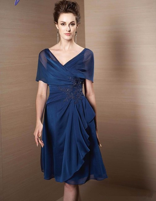 Blue Mother Of The Bride Dresses A-line V-neck Short Sleeves Chiffon Applique Beaded Groom Short Mother Dresses For Wedding