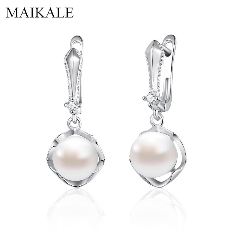 MAIKALE Trendy Perle Ohrringe für Frauen Gold Silber Zirkonia Ohrringe mit Perle Frauen Schmuck Zubehör Mädchen Geschenke