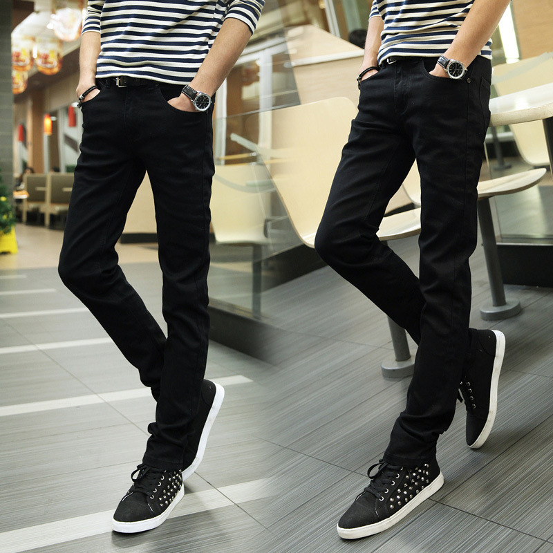 Autumn And Winter New Style MEN'S Jeans Elasticity Black And White With Pattern Skinny Pants Men's Korean-style Slim Fit Jeans F