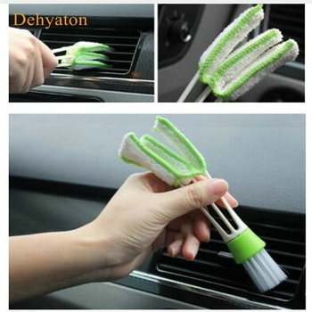 1pcs Long Durable 2 In 1 Double Slider Car Air-conditioner Outlet Cleaning Tool Outlet Window Cleaning Multi-purpose Brush image