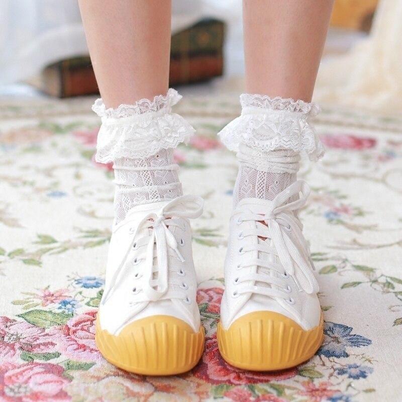 1 Pair New Lace Lovely Girls Socks Soft Sweet Women Socks White StockingsKnee High Knee High Socks