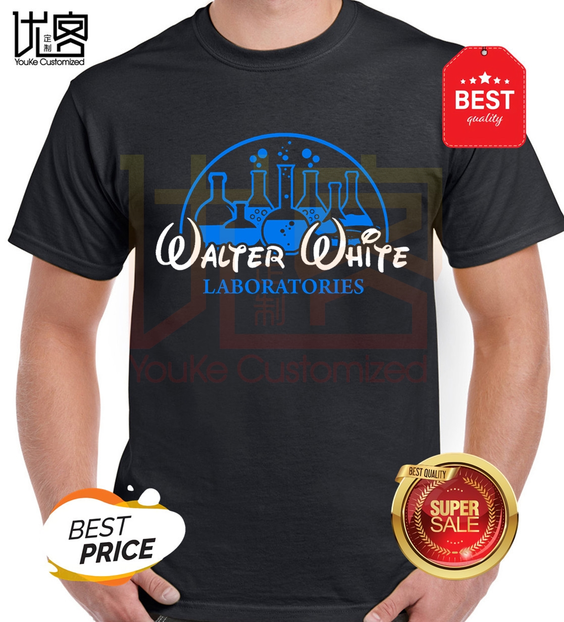 Walter White Laboratories T Shirt Breaking Bad Heisenberg Mr White 100% Cotton Tops Men's T-Shirts image
