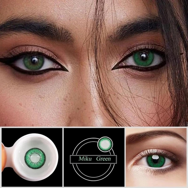 [FANCY TONE] 1 Pair Miku Green Red Halloween Contacts Crazy Contact Lens For Cosplay Color Contacts For Eyes