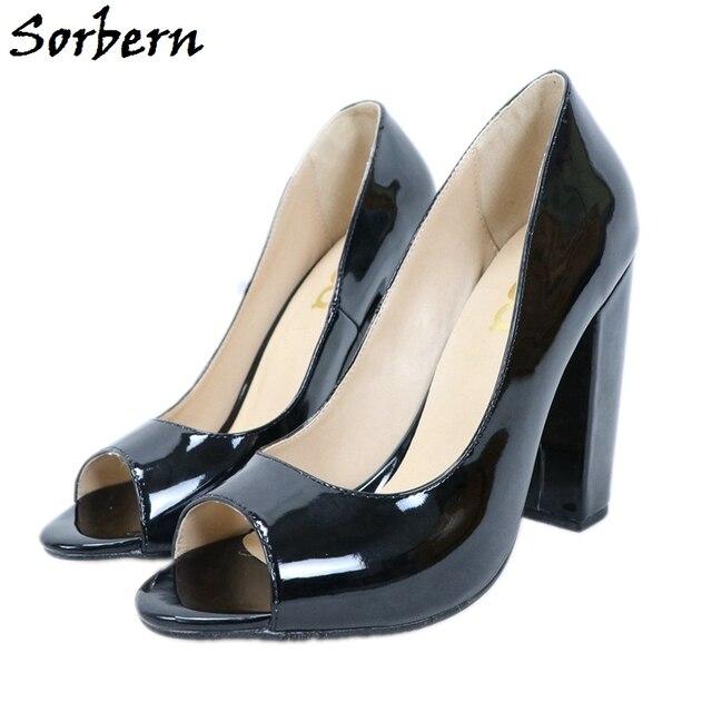 Sorbern Black Patent Women Pump Shoes