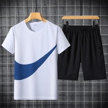 2021 New Men's T-shirt + Sports Shorts Set Summer Breathable Casual T-shirt Running Set Fashion Harajuku Printed Male Sport Suit 2