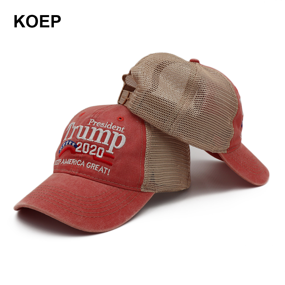 KOEP New Donald Trump 2020 Cap Washed Mesh Baseball Caps Keep America Great Snapback President Hat Embroidery Drop Shipping(China)