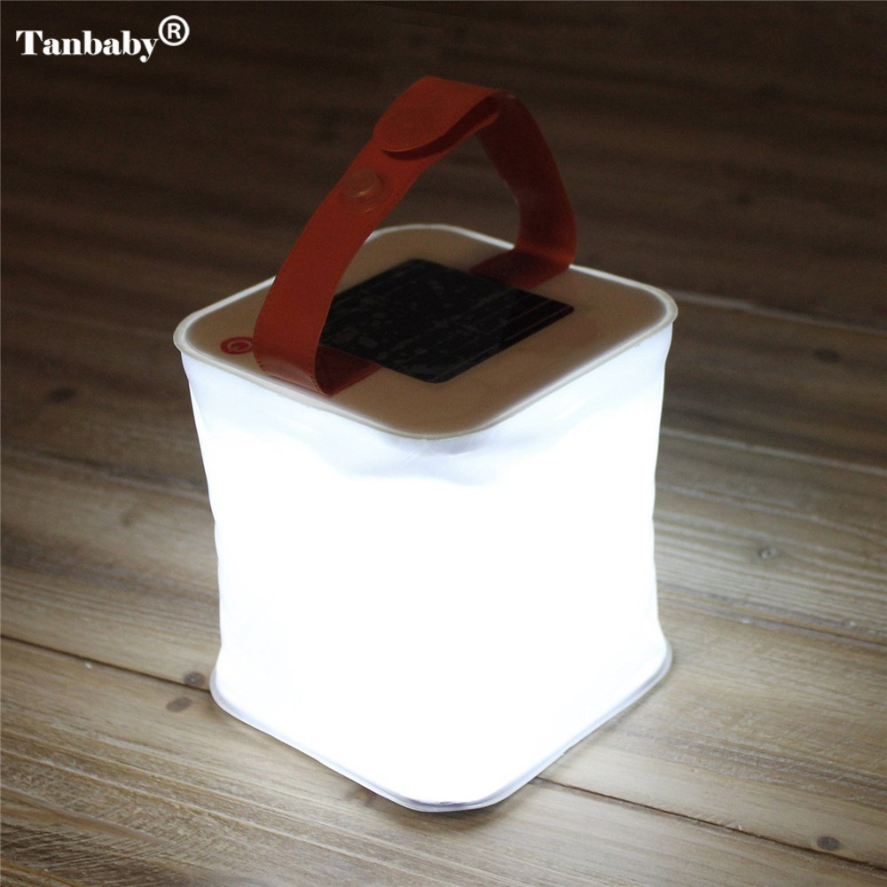 Tanbaby 1PC Waterproof Square Hang Foldable Inflatable Solar Light Led Lamp For Indoor/Outdoor Camping Travel Hiking Emergency