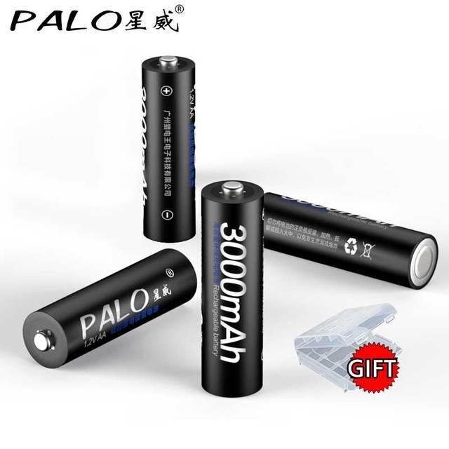 Chargeur PALO haute qualité avec écran LCD chargeur de batterie 4 canaux + 4 pièces piles rechargeables aa NIMH 1.2V 3000mah nimh