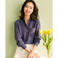 Shirt women 100% silk heavy weight 30m meter spring long sleeved white shirt women office commuting shirt women fashion high end