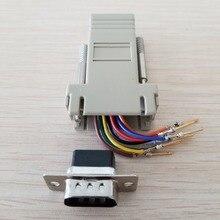 RJ45 hembra a DB9 hombre RS232 puerto COM extensor Modular para PC DIY