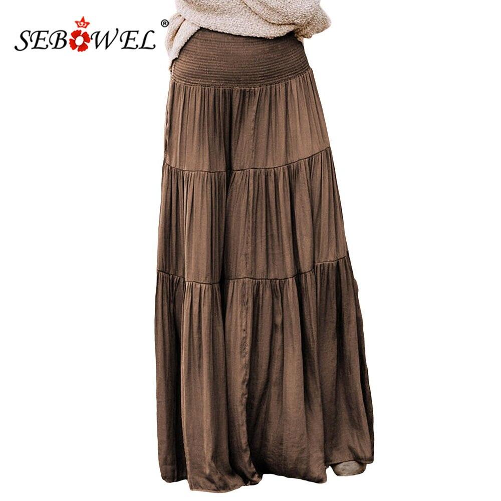 SEBOWEL Bohemian Style Woman's High Waist Smocked Tiered Maxi Skirt Elastic Waist Autumn Winter Female Boho Long Skirts S-XL