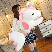 Dev boyut tek boynuzlu at pelüş oyuncak yumuşak dolması karikatür Unicorn bebek hayvan at için yüksek kaliteli hediye damla nakliye