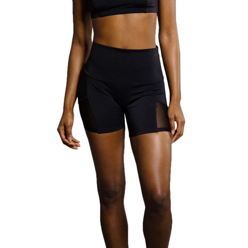 Sexy Solid Color Women's Summer Tight Stretch Fitness Wide Waist Mesh Stitching