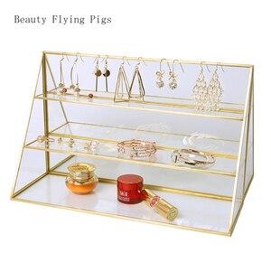 Image 5 - Прозрачная стеклянная подставка для духов Ins, 1 шт., стойка для ювелирных изделий и браслетов ручной работы, трапециевидная стойка для хранения косметики