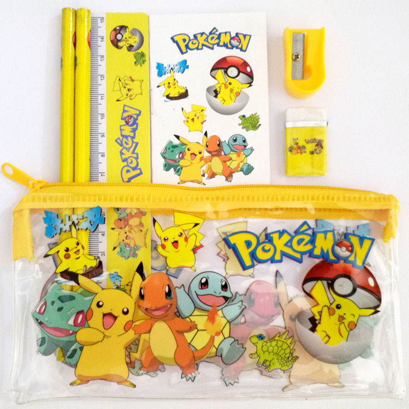 1 Set Pokemon Go Pencil Case Set Children Cute Sticker Estojo Escolar Cartoon Pikachu Pencil Cases School Stationery Set