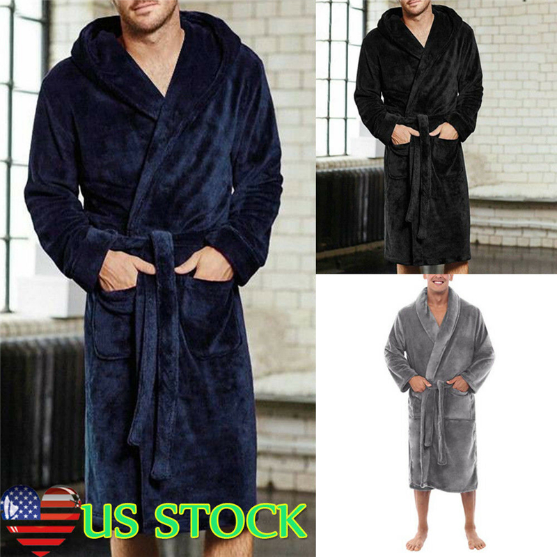Men's Winter Warm Robes Thick Lengthened Plush Shawl Bathrobe Kimono Home Clothes Long Sleeved Robe Coat Peignoir Homme Hot