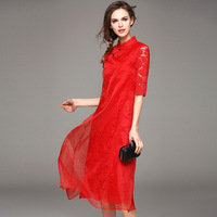 2019 Lace Joint Organza Dress Stand Collar Xie Jin Chinese Style Cheongsam Toast Dress Large Size 6745