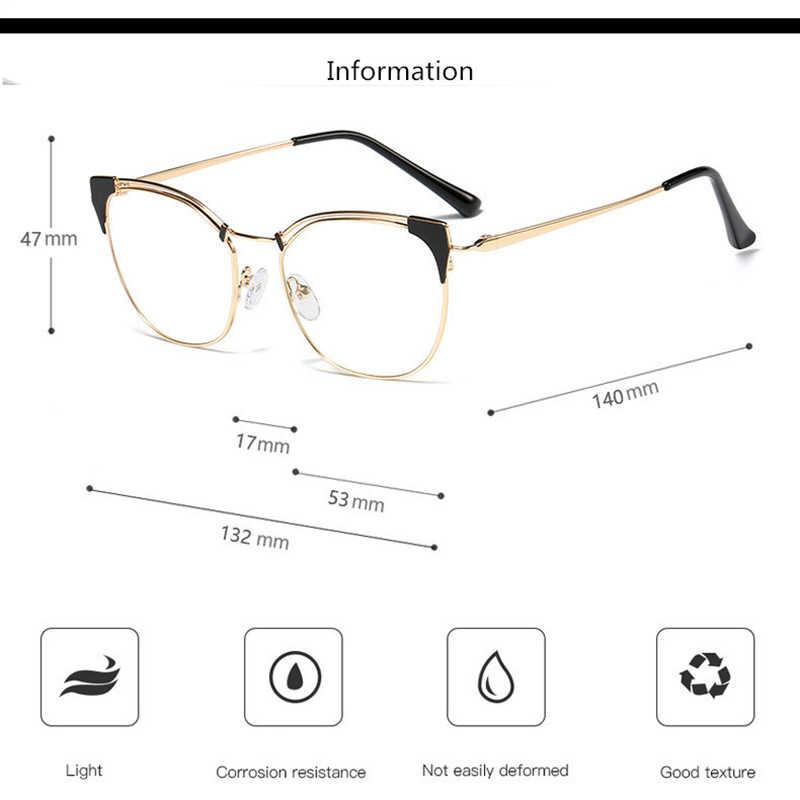 Armação de óculos feminina tipo olho de gato, armação retrô de liga de metal para óculos de miopia e presbiopia, para mulheres, quadro de vidro f0217
