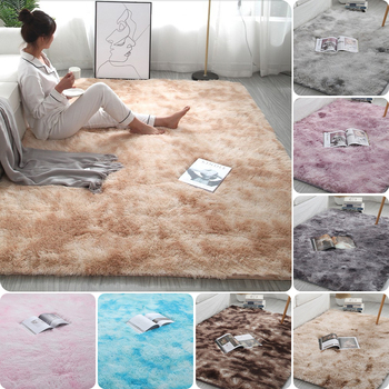 Grey Carpet Tie Dyeing Plush Soft Carpets For Living Room Bedroom Anti-slip Floor Mats Bedroom Water Absorption Carpet Rugs