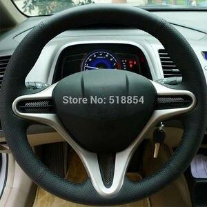 Image 4 - ฝาครอบพวงมาลัยรถหนังแท้สีดำสำหรับ Honda Civic Old Civic 2006 2011