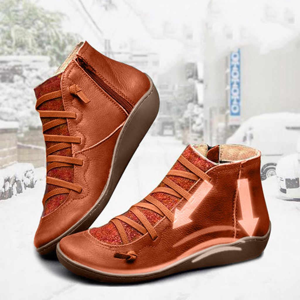 Kadın PU deri yarım çizmeler kadın sonbahar kış çapraz Strappy Vintage kadınlar serseri çizmeler düz bayan ayakkabıları kadın Botas Mujer