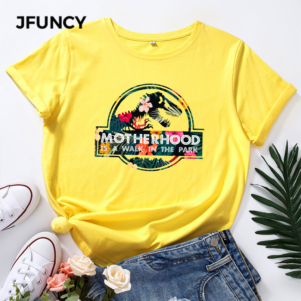 JFUNCY Casual Cotton T-shirt Women T Shirt Motherhood Letter Printed Oversized Woman Harajuku Graphic Tees Tops 4