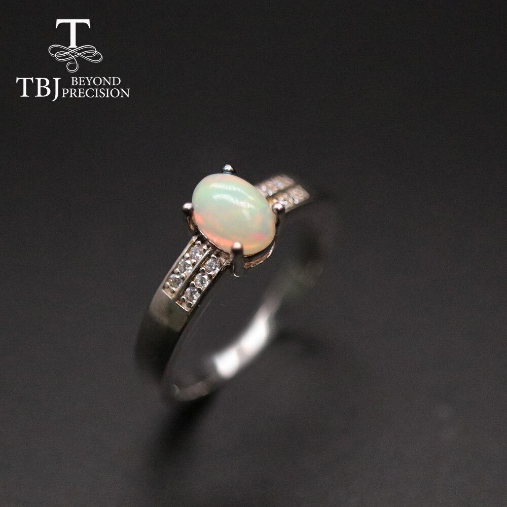 TBJ-Anillo de ópalo sencillo ovalado, 5x7mm, 0,8 CT, piedra preciosa colorida natural, joyería fina para mujeres y niñas, uso diario, 2021