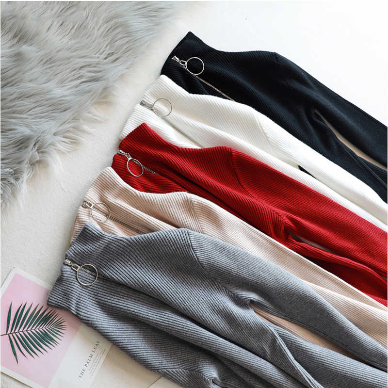 Women Cotton Blouse 2019 Autumn Winter Casual Knitted Shirt Jumper Solid Long Sleeve Turtleneck Pullovers Elasticity Top Female