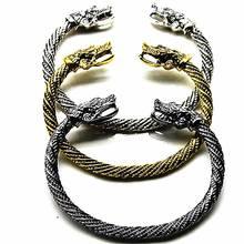 Vintage Viking Wolf Head Cuff Bracelet Open Bangles Men Stainless Steel Bracelet Punk Indian Jewelry Fashion Accessories цена в Москве и Питере