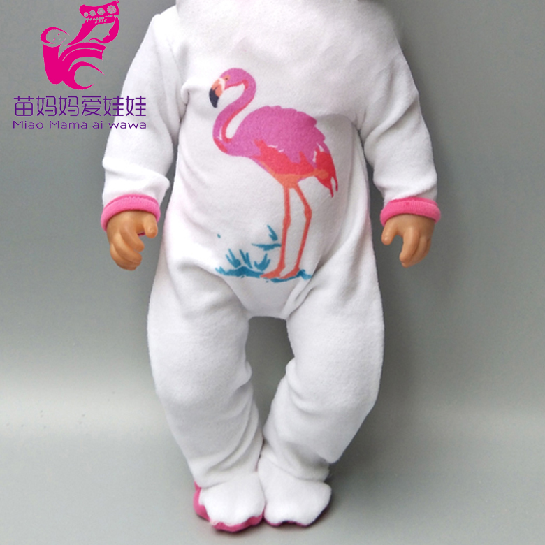 Doll Clothes Pants Flamingo Romper Clothes For  Baby Doll Wear Sets For 18