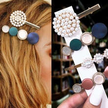 1Set Hot sell Korean Pearl Big Hairpins Hair Accessories Metal Geometry Women Hair Clip Styling Accessories Girl Accessories