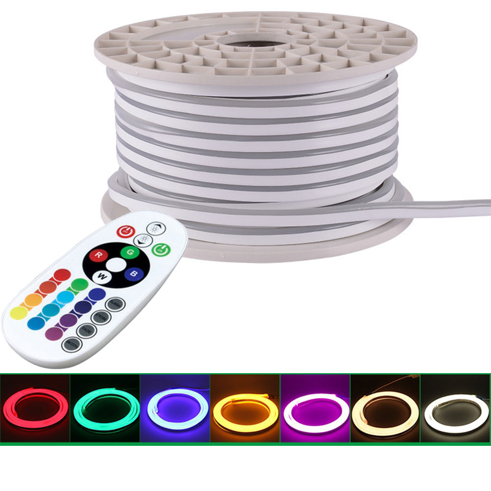 Best Offer Gd 100m Led Neon Strip Light With Bluetooth Remote Controller Ac220v Dimmable Led Rope Light Ip65 Waterproof For Outdoor Use