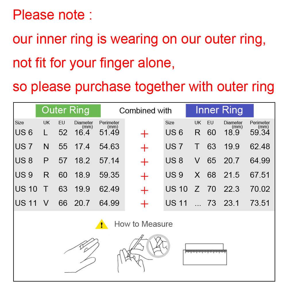 Floya แหวนไทเทเนียม Femme สีดำ Eternity สแตนเลส INTERCHANGEABLE ARCTIC Symphony SPINNER แต่งงาน CZ แหวน