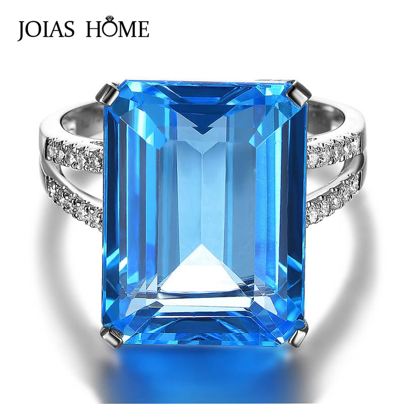 JoiasHome Luxury Rings For Women Silver 925 Jewelry With Square Blue Aquarium Gemstones Women Party Wholesale Gift Size 6-10
